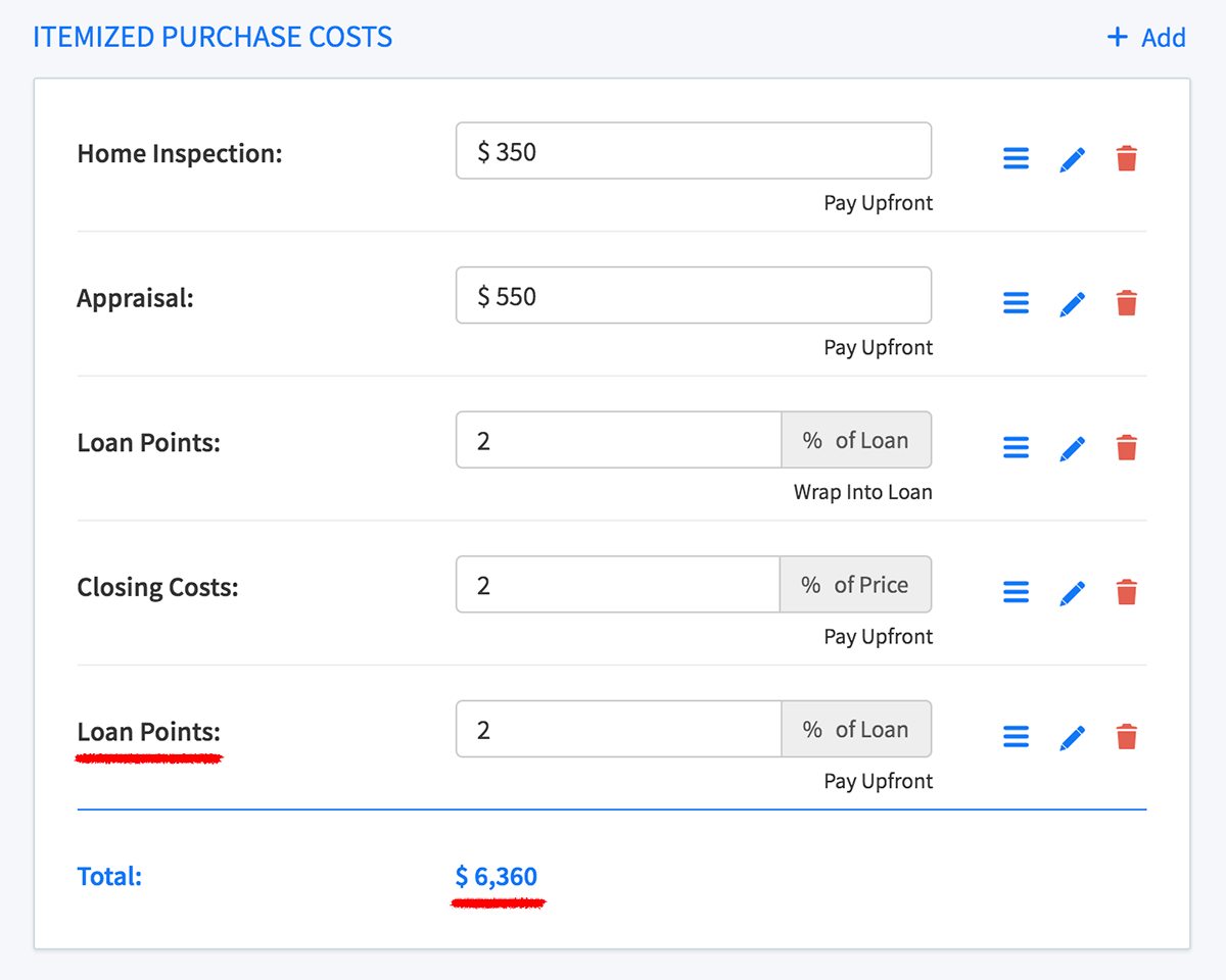Loan points item example