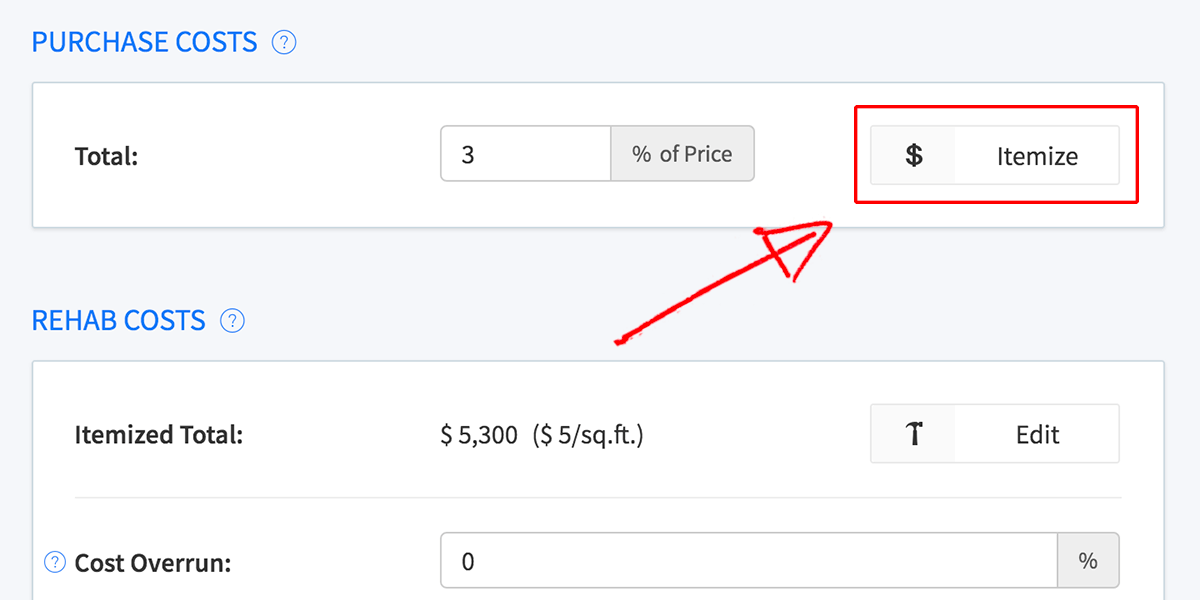 Purchase costs itemize button