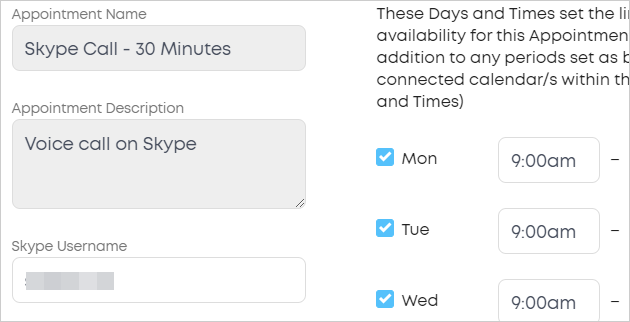 LawTap APPOINTMENT AVAILABILITY section - Skype Username field