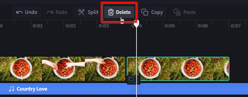 """An image of the video editor timeline with the mouse hovering on and a red circle around the """"delete"""" button."""