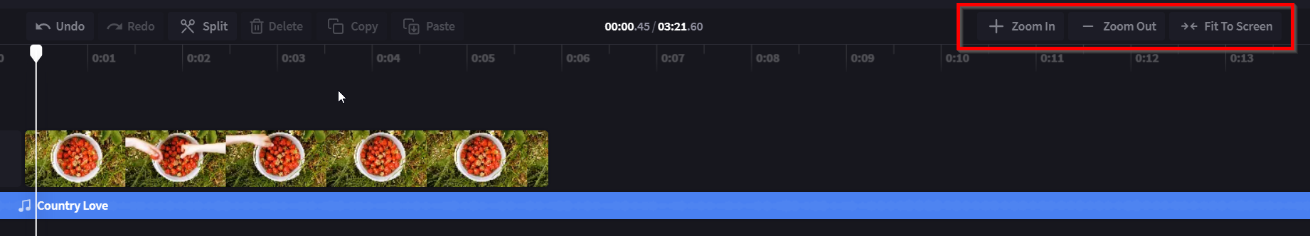 An image of the video editor timeline with a red circle around the zooming section on the top right