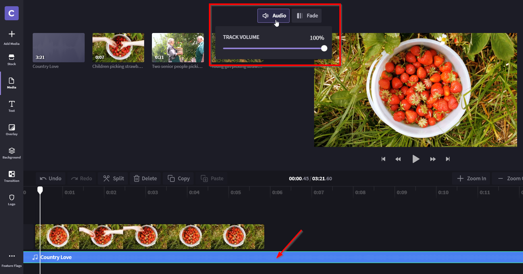 An image of the video editor with audio track open at the top and a red square around it, and a red arrow pointing at the audio track at the bottom.