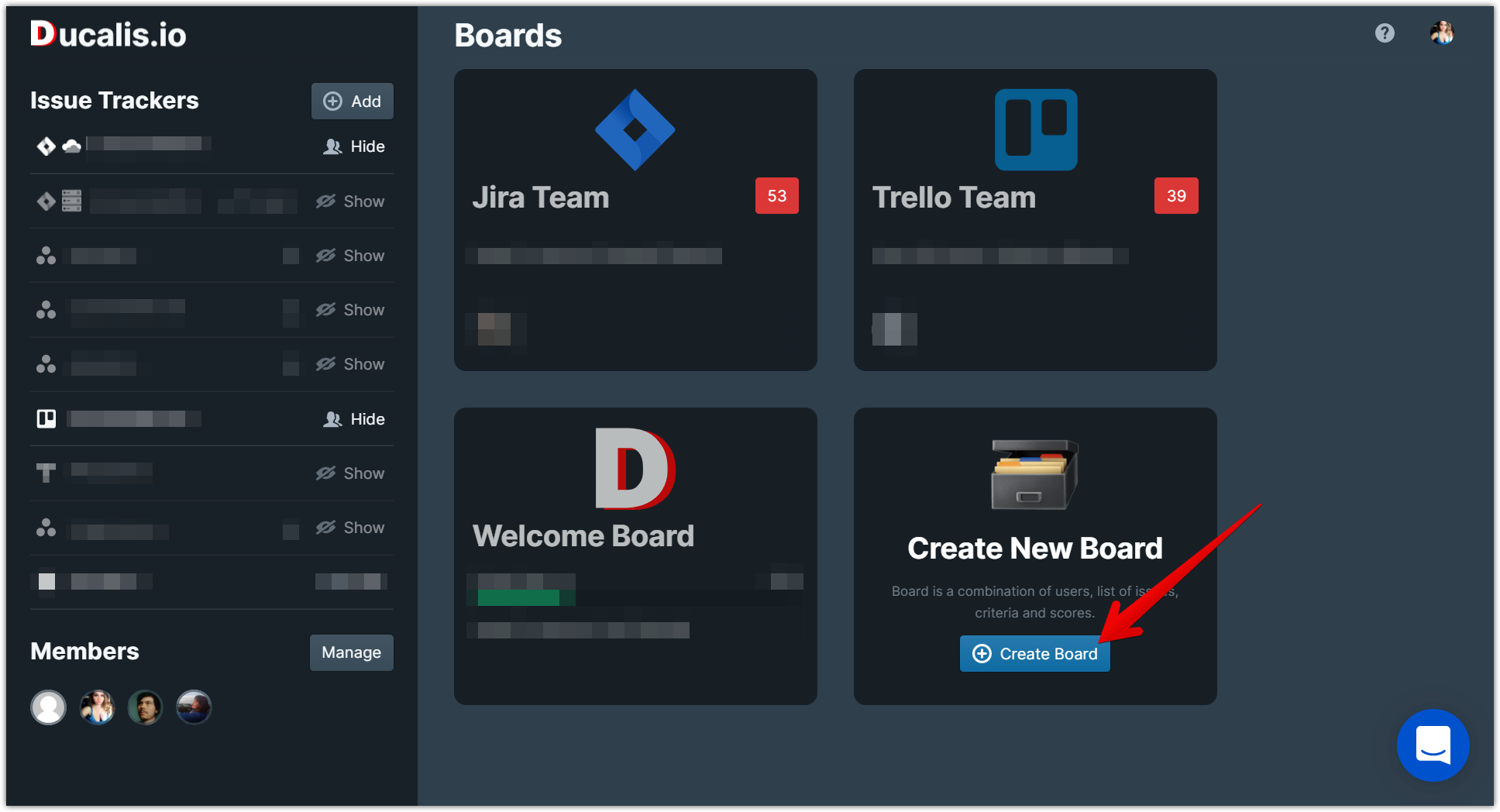 ducalis.io dashboard create new board