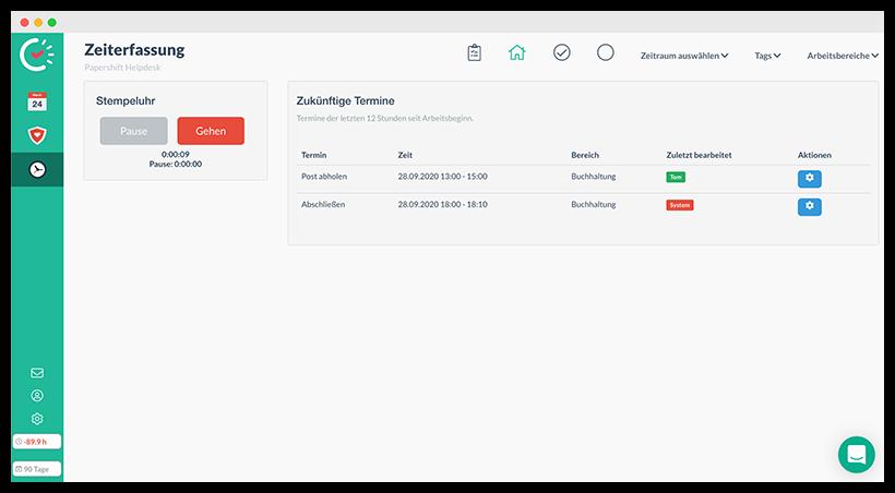 Aufgaben und Termine in Verbindung mit der Browser Stempeluhr