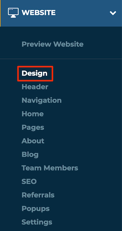 Left Menu Website Dropdown