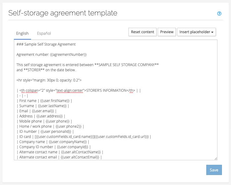 Self-storage agreement template