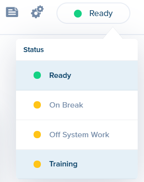 Overpass status button, showing drop-down menu with secondary statuses