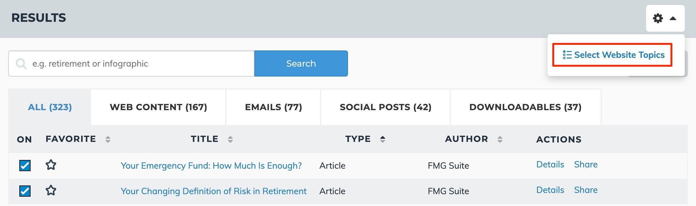 Select Website Topics