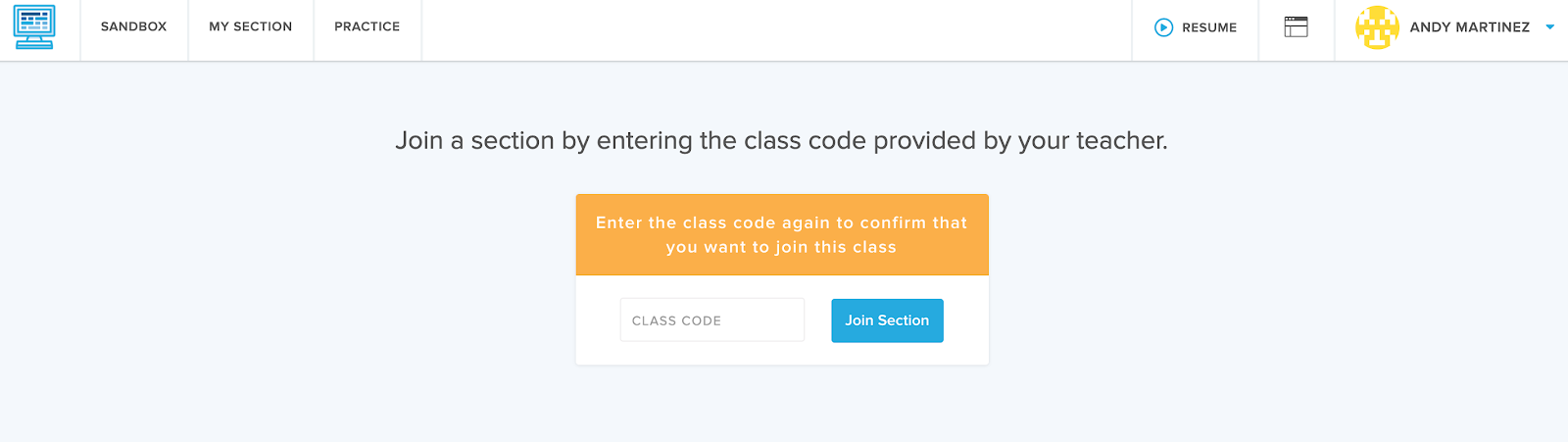 Students see another prompt box asking for a join code if they already have an account and are joining additional sections