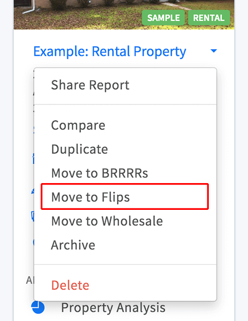 Move a rental property to the flips category