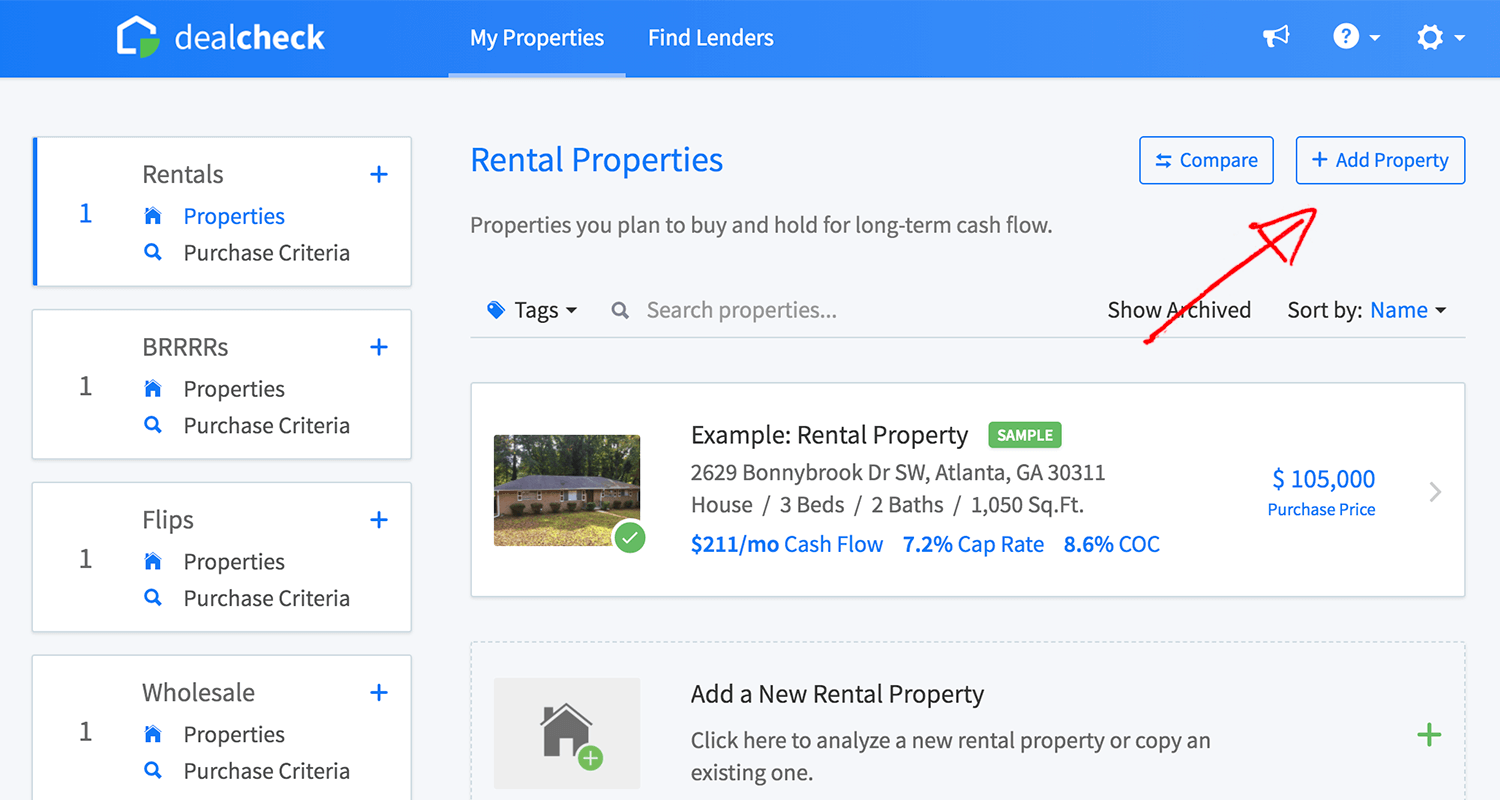 Add property link on the main dashboard