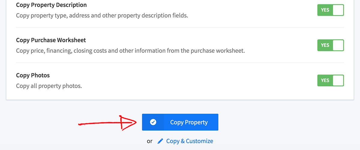 Finish copy property workflow