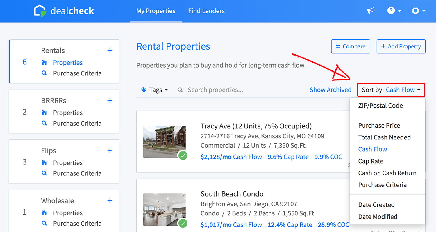 Sort the property list