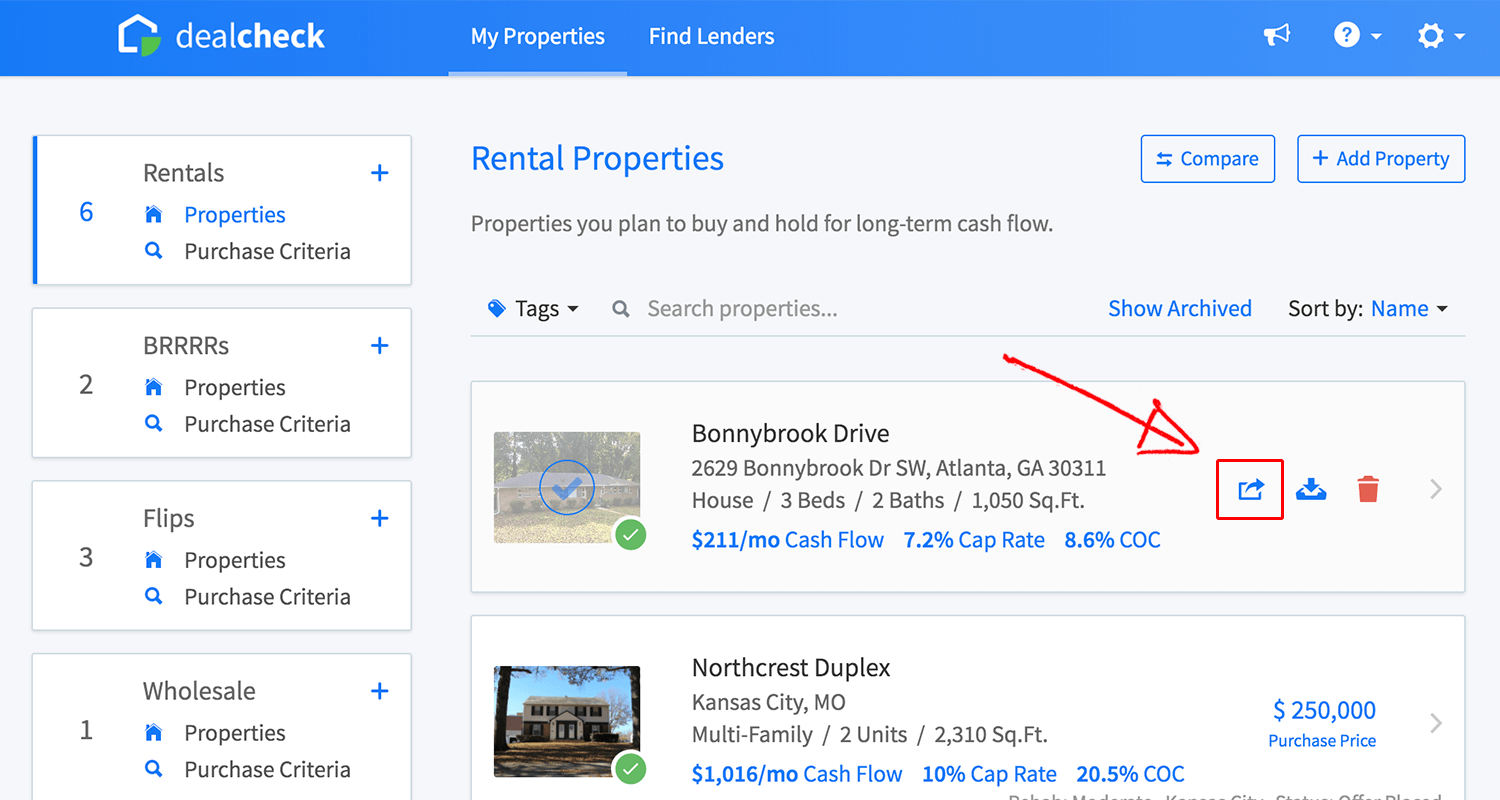 Share a property from the property list