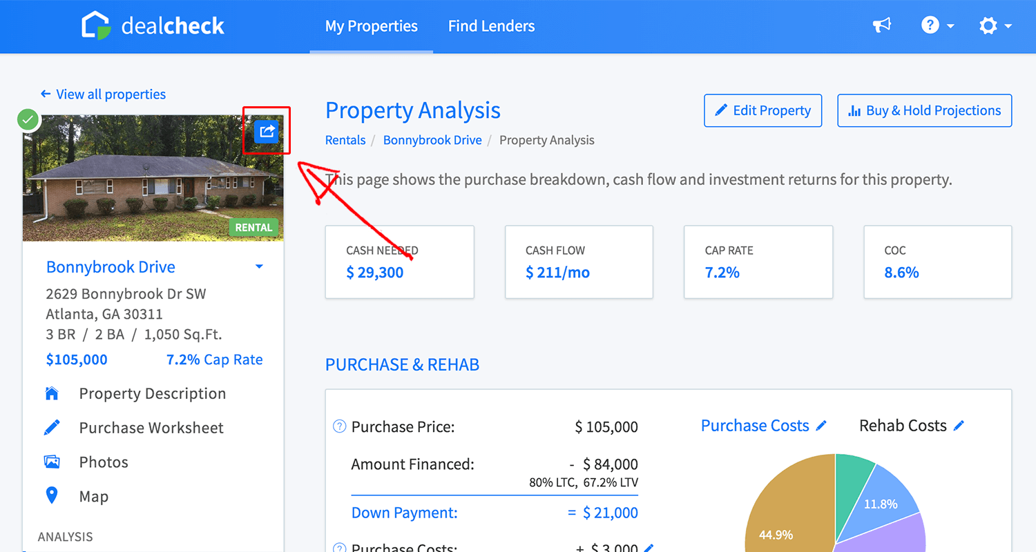 Share a property from the property menu