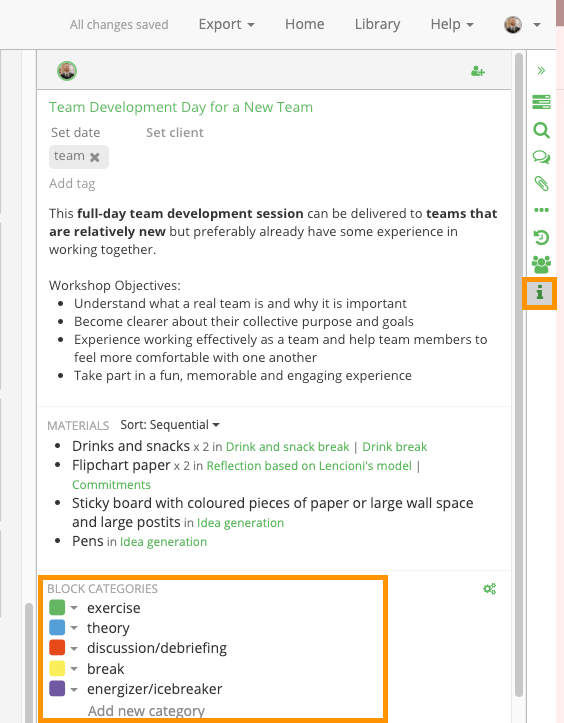 changing category colours in the session planner