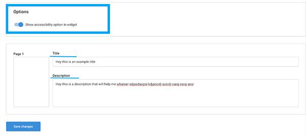 Accessibility option in flipsnack widget
