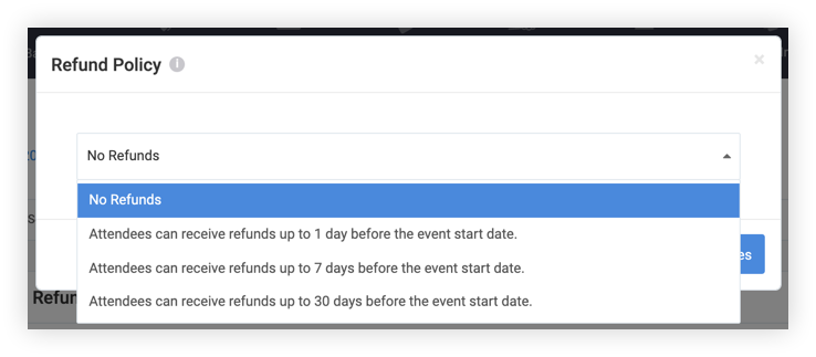 Screenshot of the Refund Policy modal.