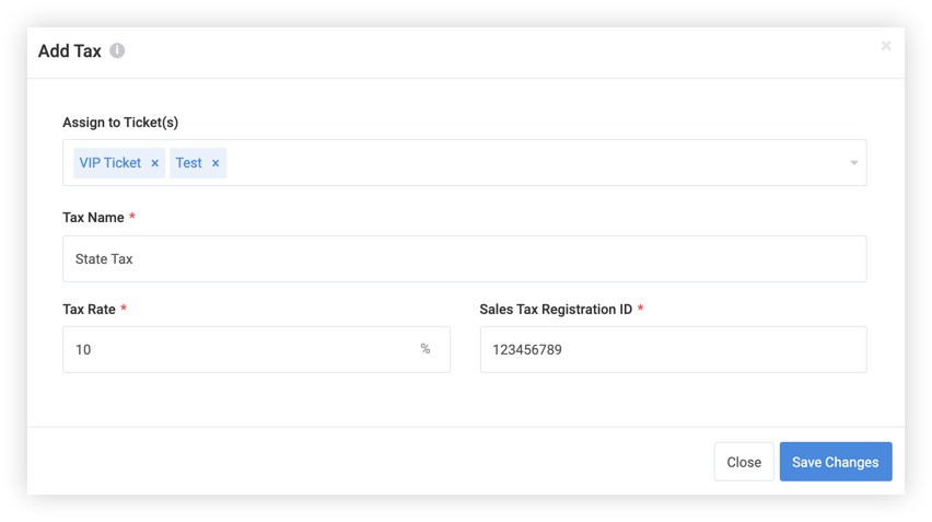 Screenshot of the Add Tax modal.