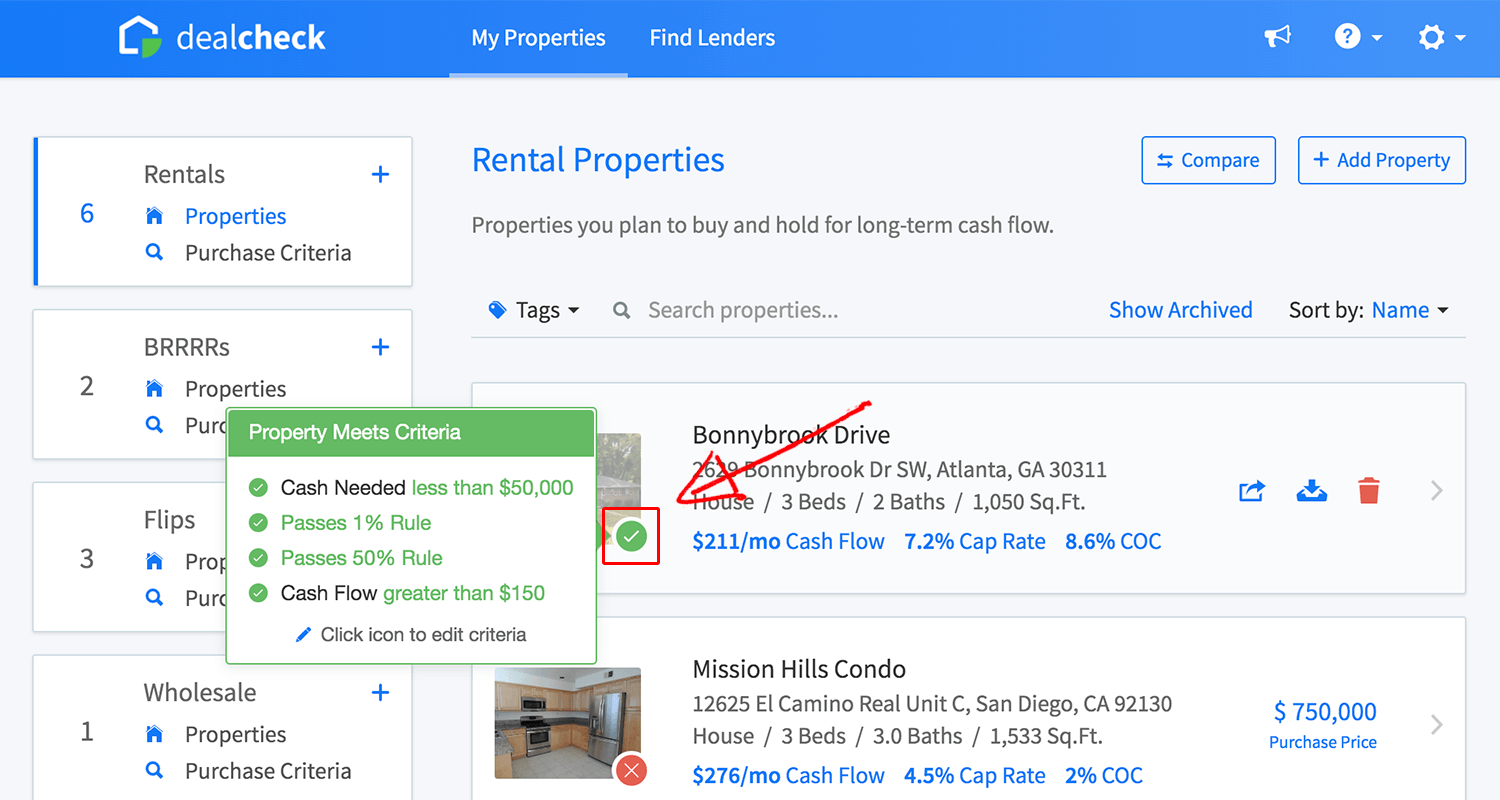 Property criteria indicator in the property list