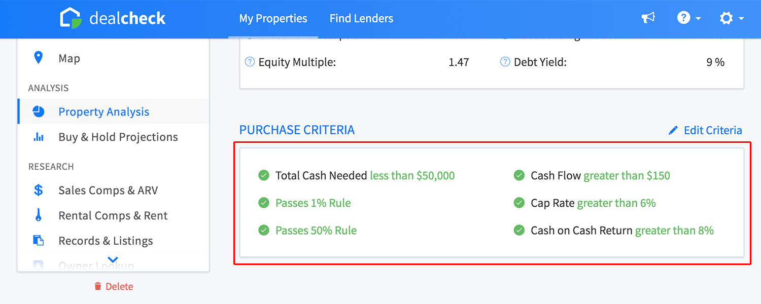 Purchase criteria analysis section