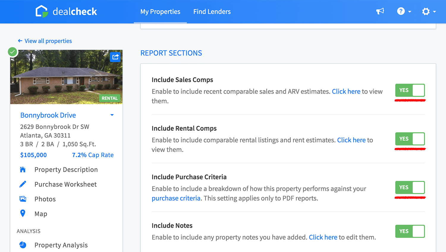 Property report section toggles