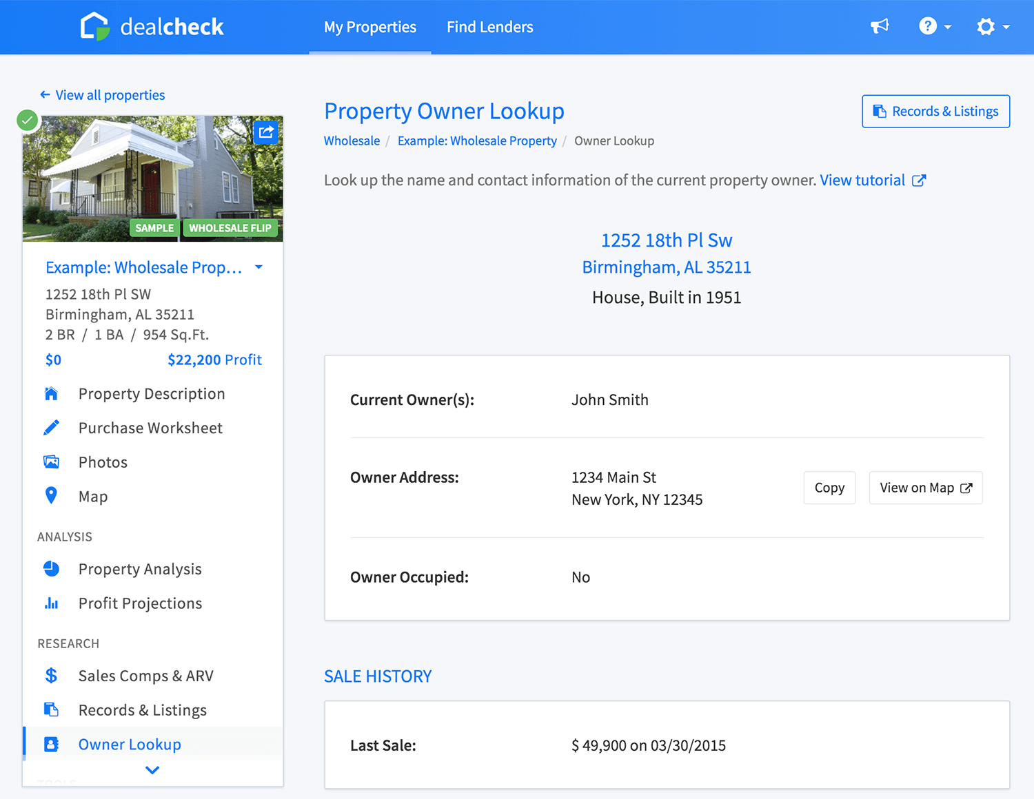 Property owner information page