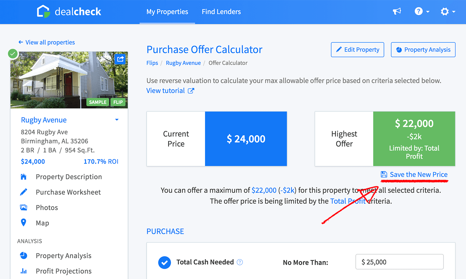 Purchase offer calculator save the new price feature