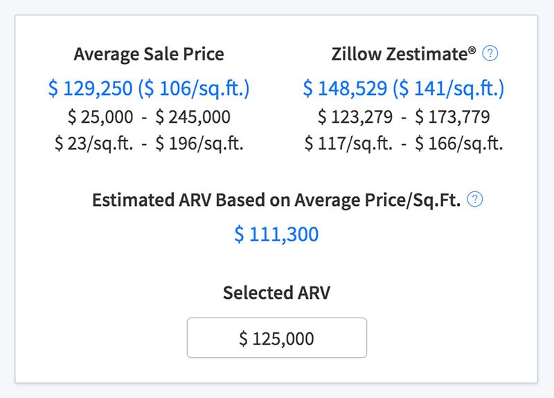 Sales comps statistics and ARV estimates
