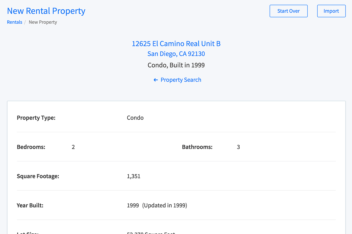 View available public records and listings data for a property