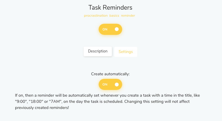 Create automatically option for Task Reminders