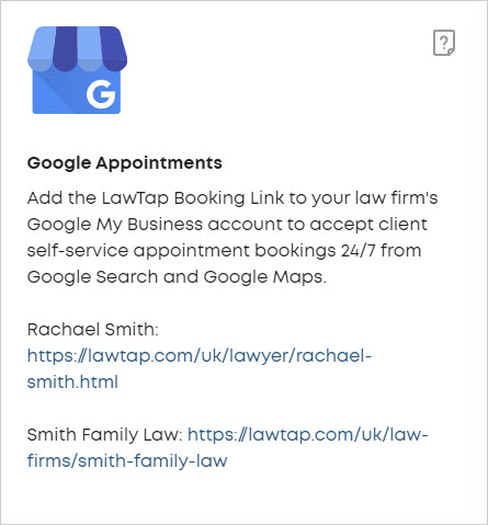 LawTap - Integrations - Google Appointments