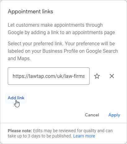 Google My Business - Appointment links