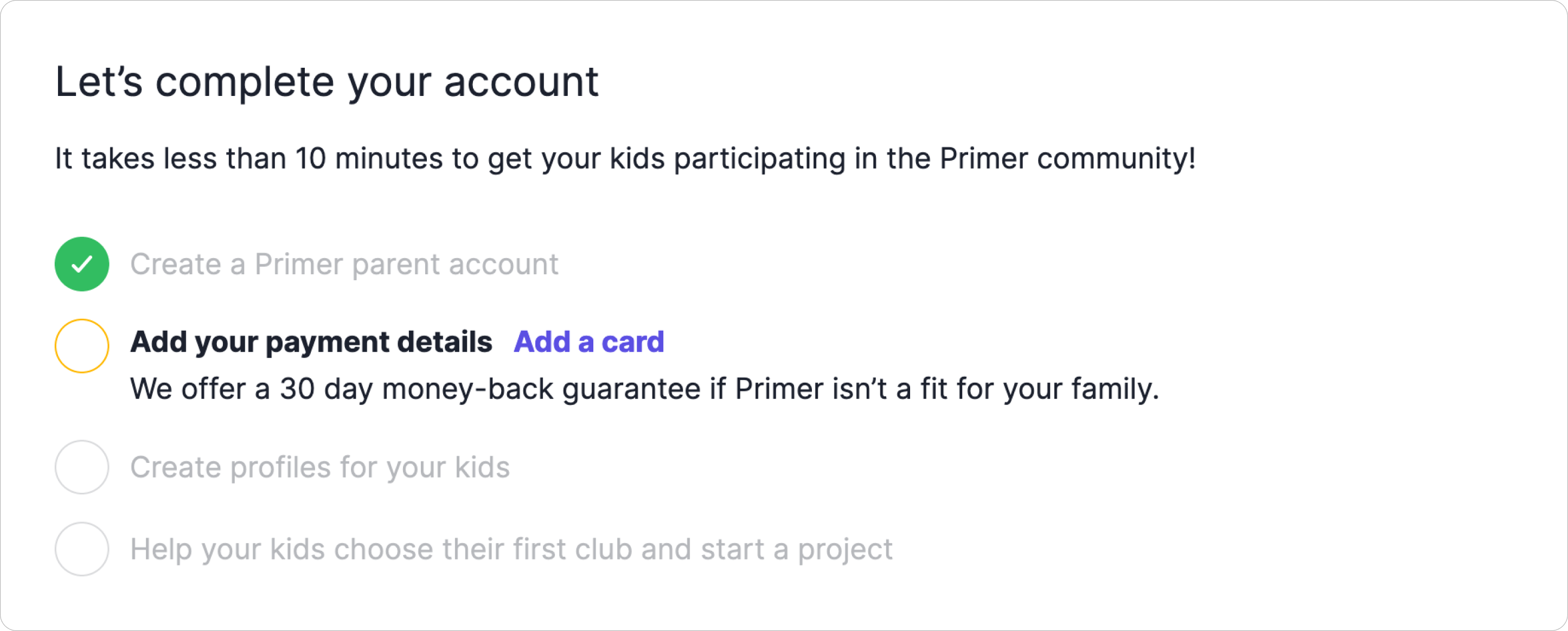 Primer Sign Up Progress Checker