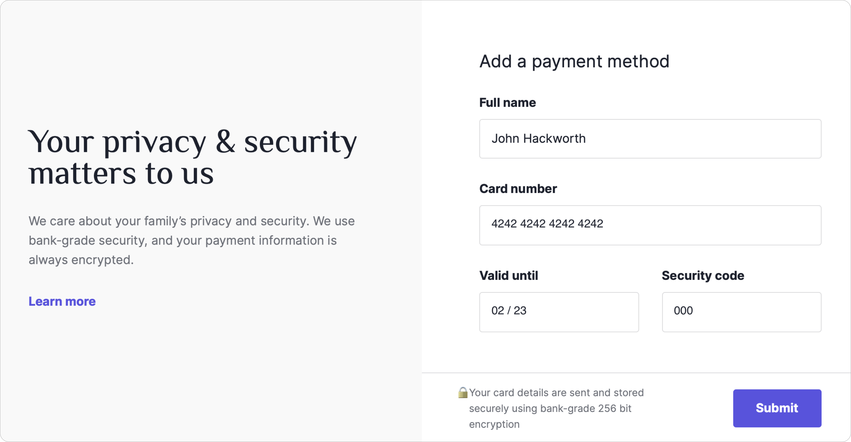 Payment Information Submission
