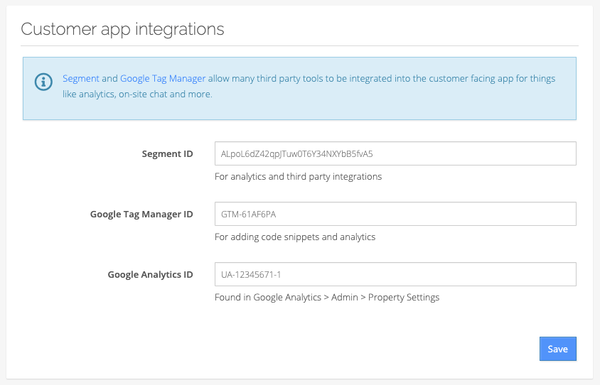 Customer app integrations