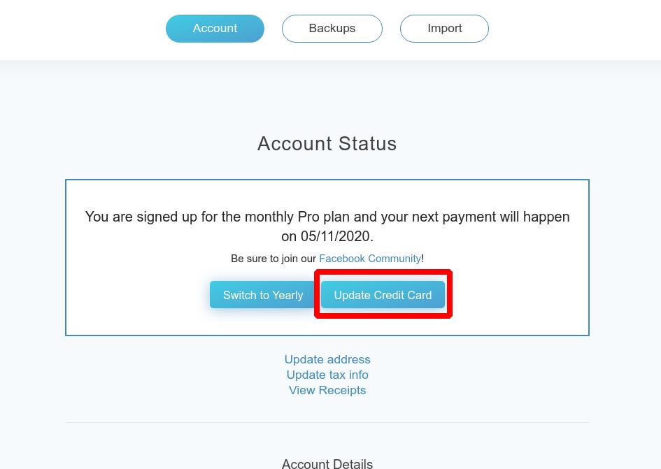 Updating Credit Card details