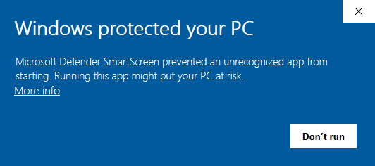 windows smart screen error message