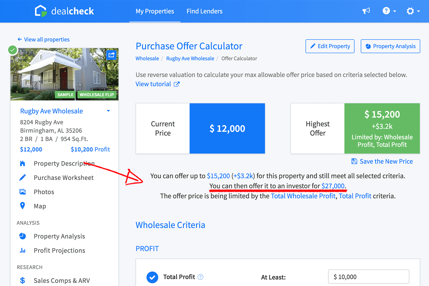 Offer calculator for a wholesale deal