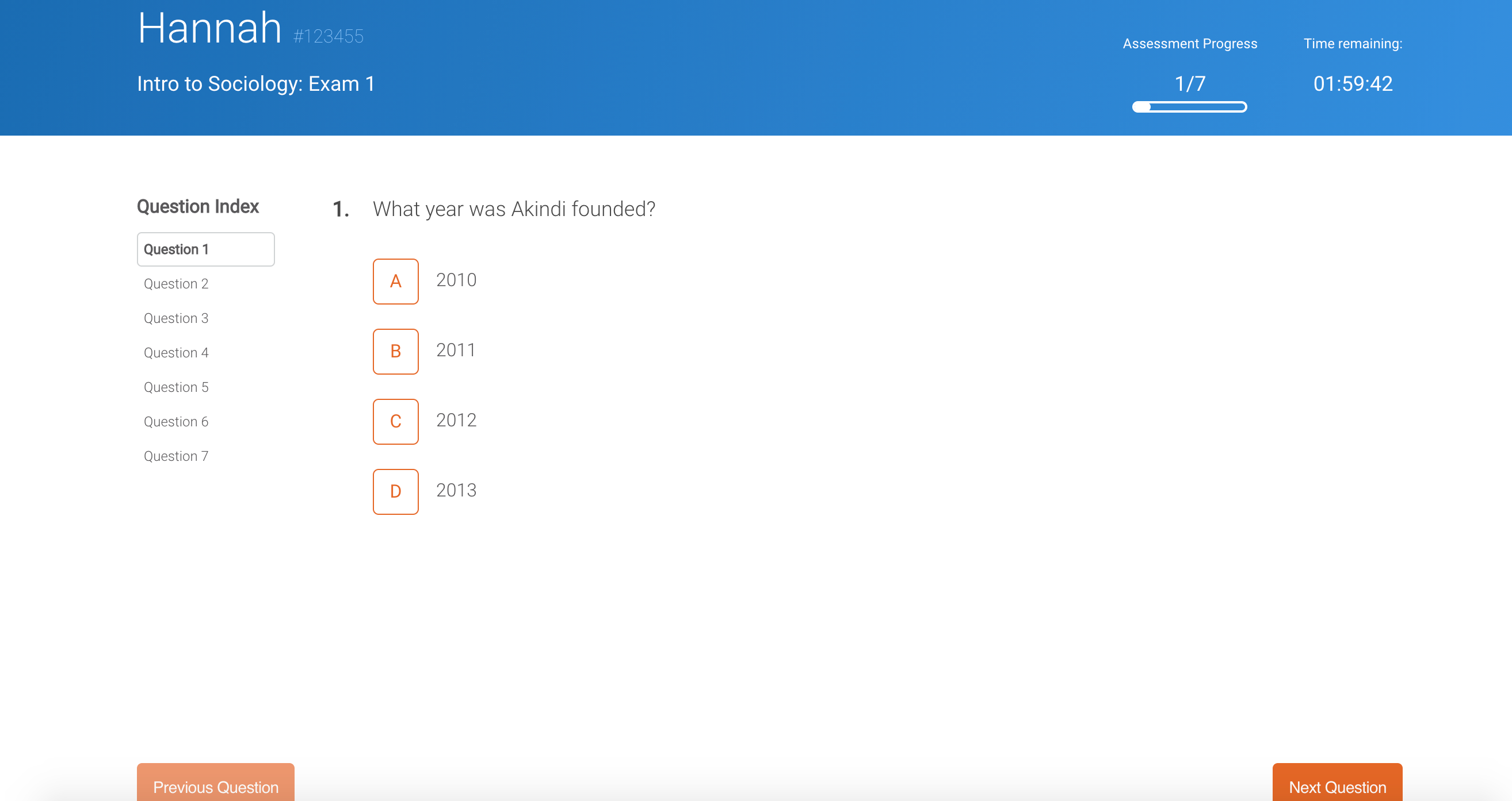 Online assessment with one question at a time displayed