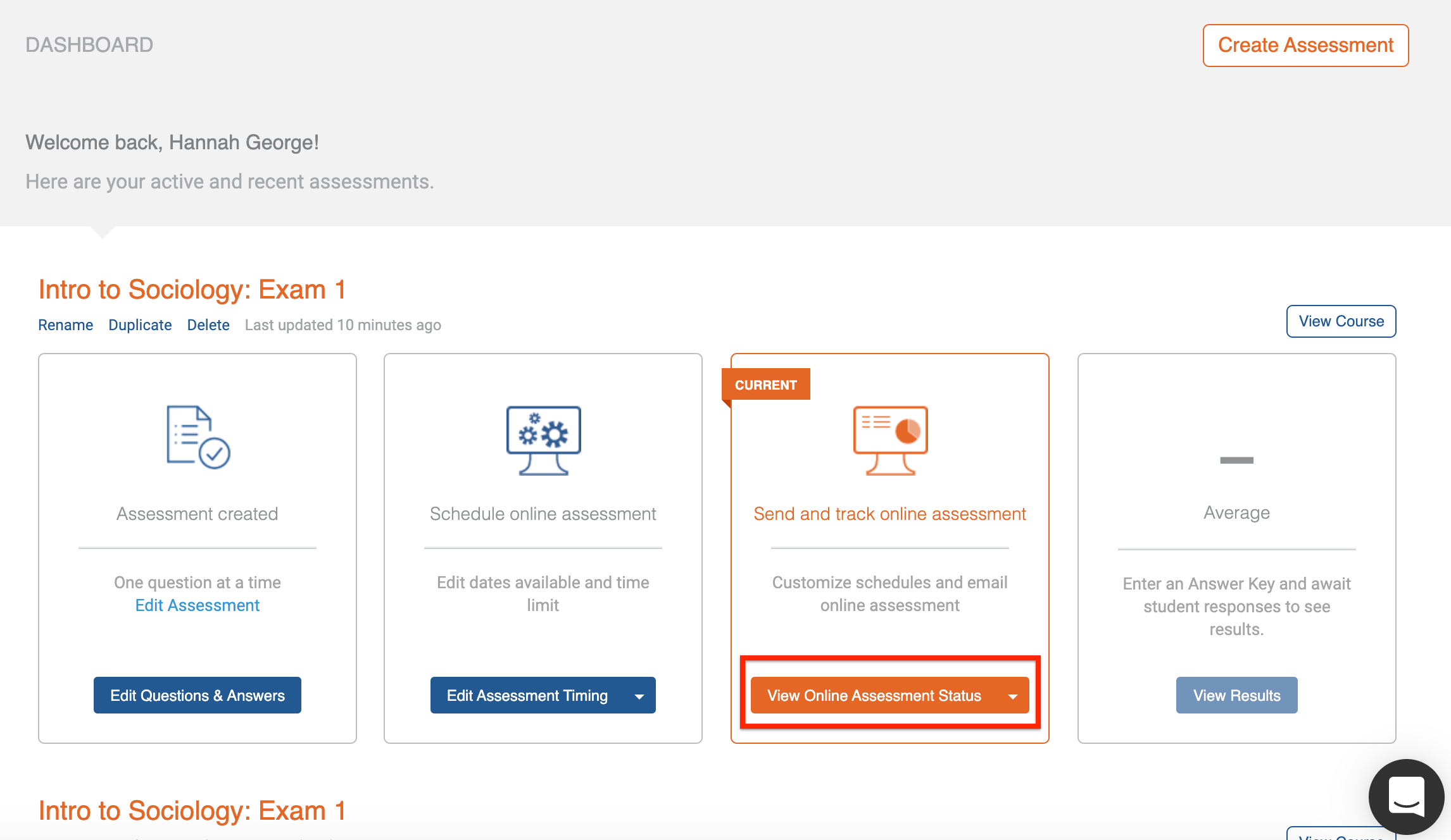 Course dashboard, 'view online assessment status' button highlighted