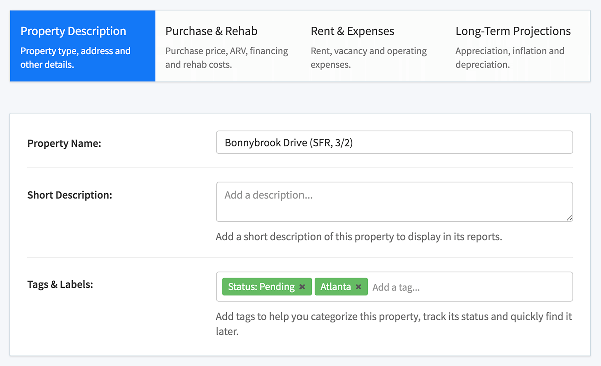 New rental property wizard - property description
