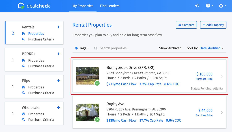 Rental property list
