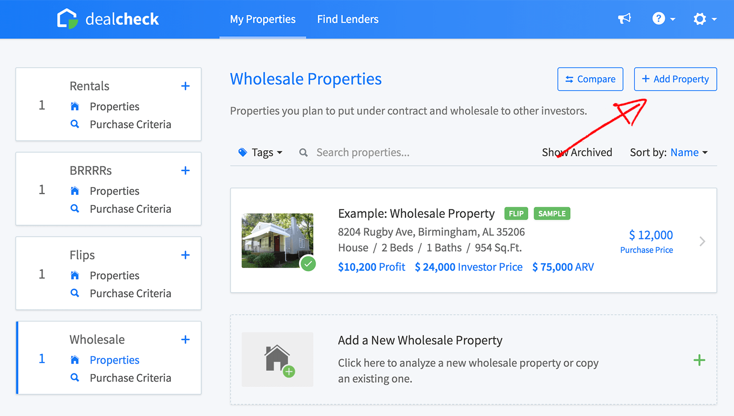 New wholesale property button in the property list
