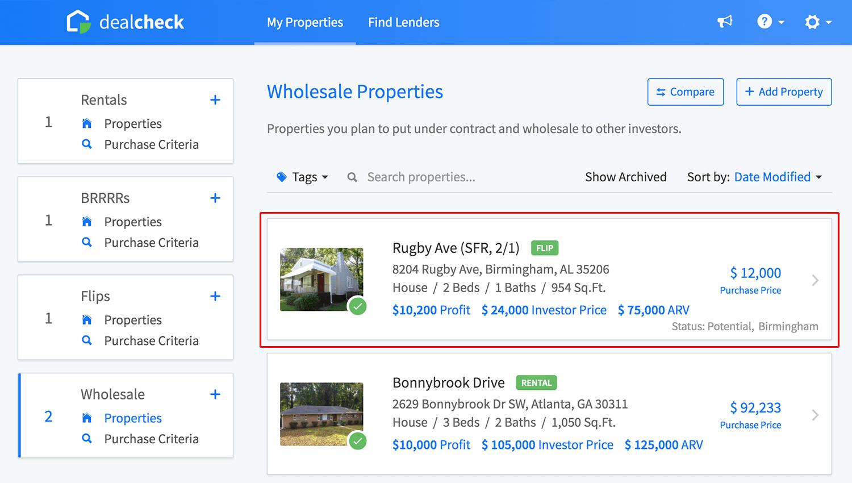Wholesale property list