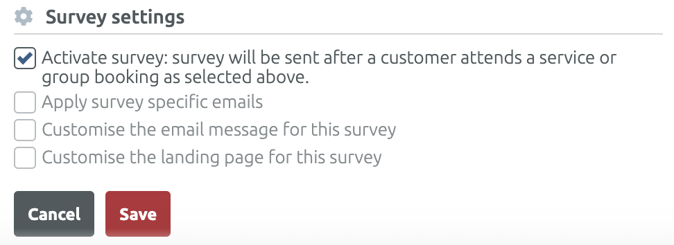Define the survey settings