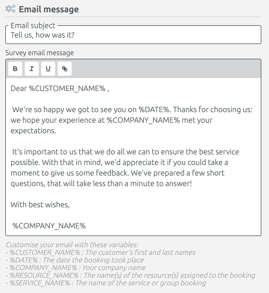 Email settings for survey invitation