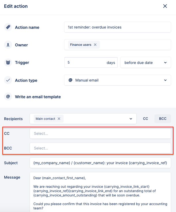 add the Front Shared Mailbox in cc or bcc to your email action