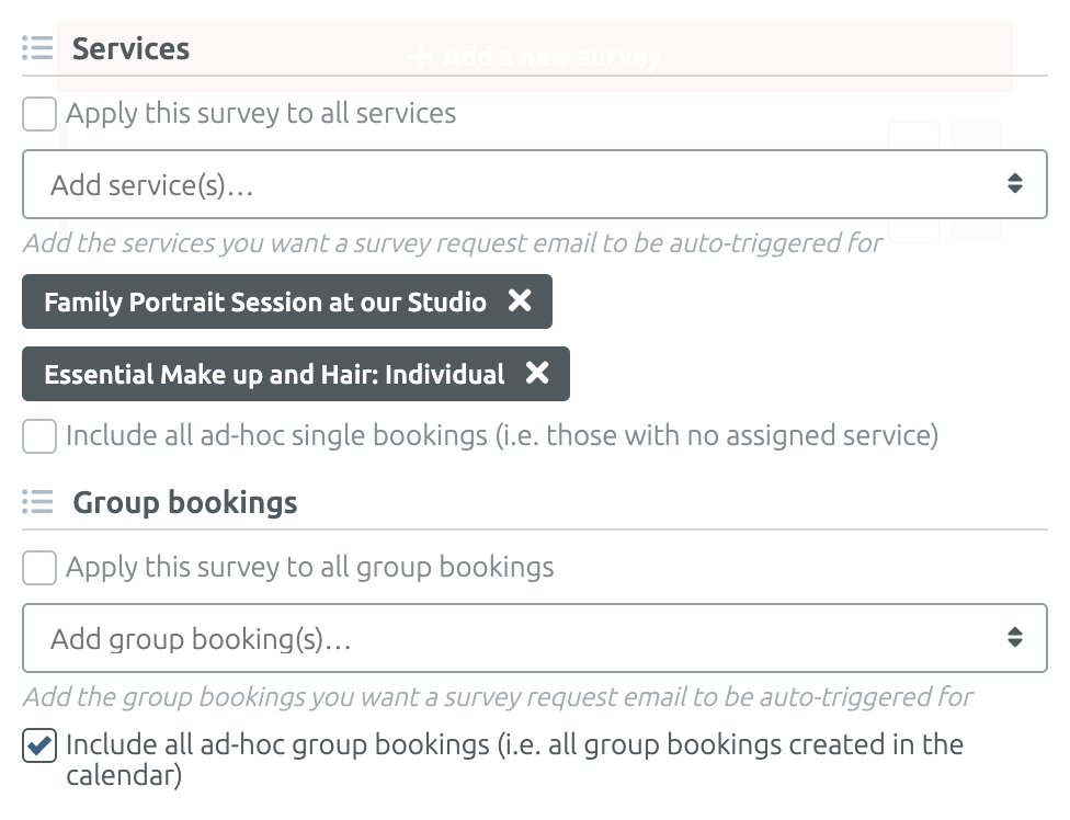 Select bookable services