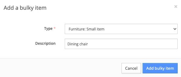 Add a bulky item